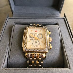 Michele two toned diamond deco watch